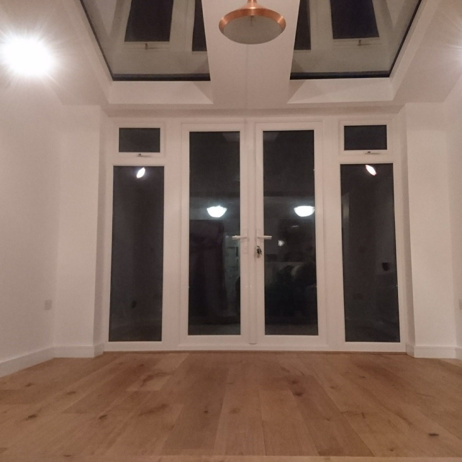 Engineered wood floor, skirting and decoration