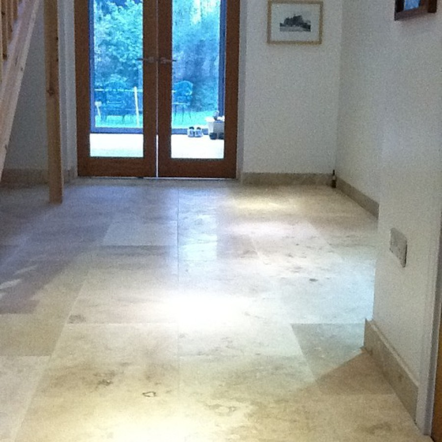 Travertine floor tiling