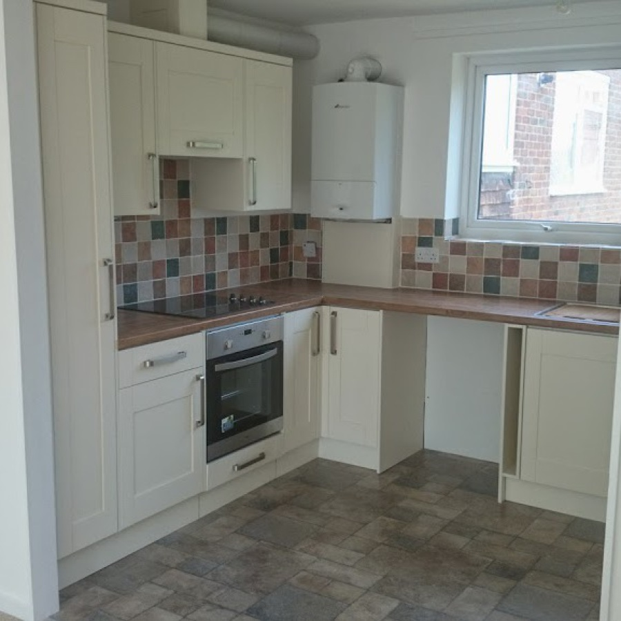 Rental flat refurbishment - remove old kitchen, knock through wall, new kitchen, tiling, flooring and decoration